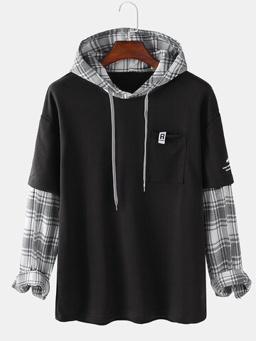 Plaid Contrast Faux Twinset Hoodies