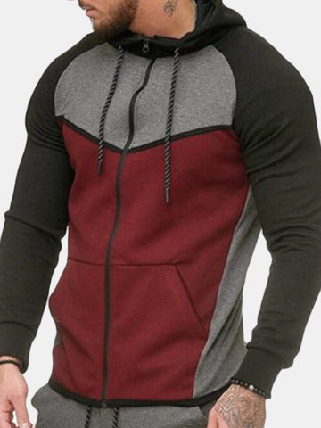 100% Cotton Stitching Color Hoodies