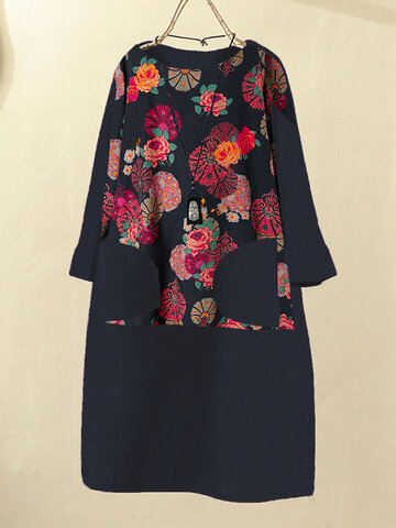 Corduroy Floral Print Dress