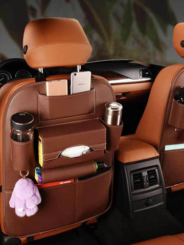 Leather Car Storage Bag Car Seat Organizer