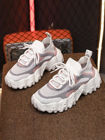 Mesh Hollow Chunky Sneakers