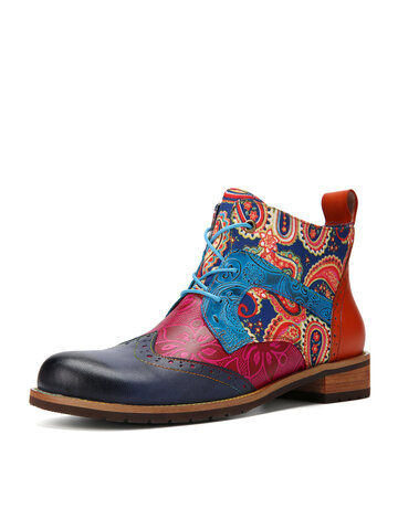Socofy Paisley Printing Leather Combat Boots