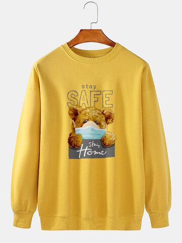 Cartoon Bear Letter Printed Sweatshirts