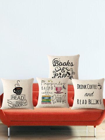 Coffee Books Theme Pillow Case Sofa Seat Back Cushion Cover