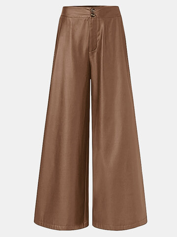Solid Color PU Leather Pants