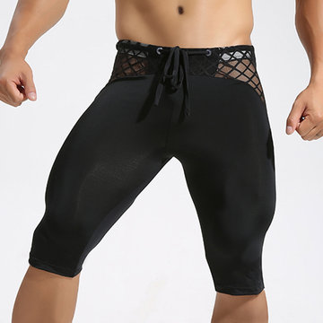 Mens Sexy Breathable Quick-drying Bodybuliding Skinny Legging Basketball Jogging Sport Shorts