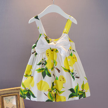 Fruit Print Girls Casual Vestido para 1-5Y