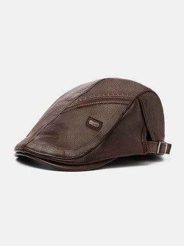 Collrown Men Faux Leather Retro Casual Stripe Pattern Beret Hat