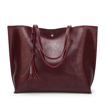 New Fashion Oil Wax Women Casual Large Capacity Tote