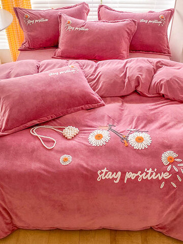 4PCS Warm And Plus Thick Velvet 3D Embroidery Floral Daisy Sunflowers Winter Comfy Bedding Sets Quilt Cover Bedspread Sheet Pillowcase