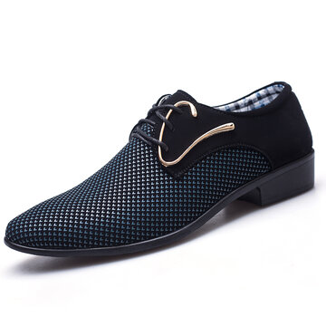Men Splicing Leather Formal Dress Shoes