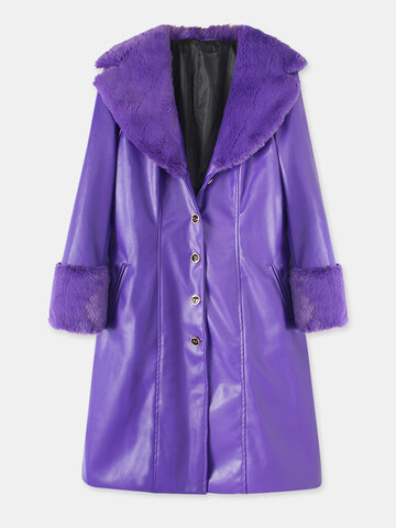 Solid Color Faux PU Leather Coat