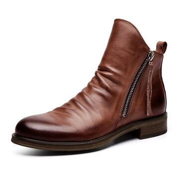 Мужские кожаные нескользящие ботинки Tazzel