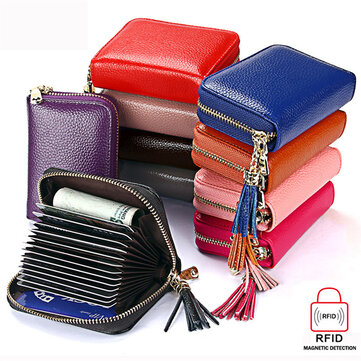 RFID  Antimagnetic Genuine Leather 15 Card Slots Multi-slots Tassel Card Holder Coins Bag