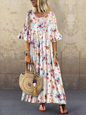 Vintage Drucken Ausgestelltes Ärmel Maxi Kleid