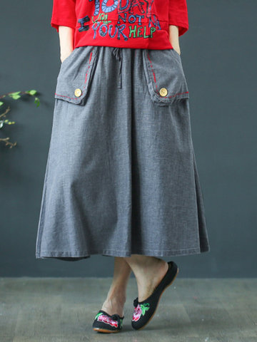 Vintage Pockets Long Skirt