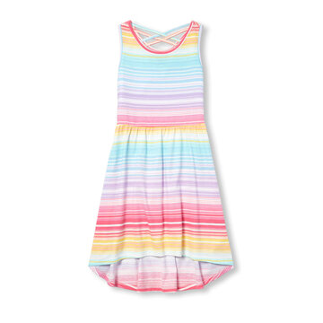 Rainbow Striped High Low Kleid Für 3-13J