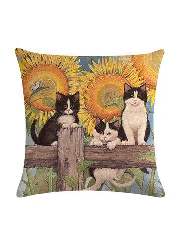 1 PC Cartoon Cat Pattern Cotton Linen Throw Pillow Cover Cushion Cover Seat Car Home Sofa Bed Decorative Pillowcase