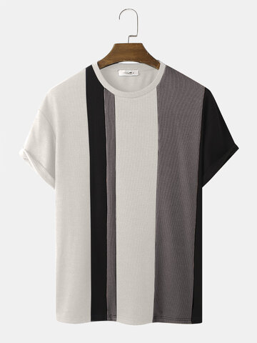 Contrasting Stitching Knitted T-Shirt