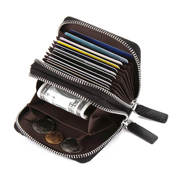 RFID Antimagnetic Double Zipper Card Holder Coin Bag Wallet
