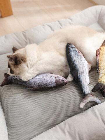 USB Aufladen Elektronischer Plüsch Katze Spielzeug Imulation Fisch Springender Fisch für die Interaktion mit Haustieren