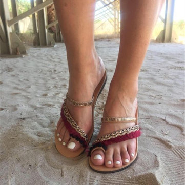 Bohemian Sequined Clip Toe Beach Holiday Flat Sandals