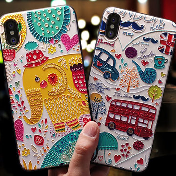 Vogue Cute Cartoon Emboss Custodia per telefono in TPU