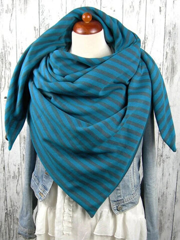 Women Thick Warmth Shawl With Buckle Printed Scarf