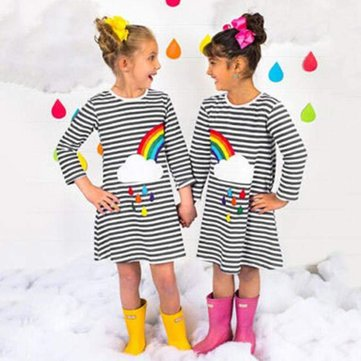 Rainbow Girls Striped Dress For 2-11Y