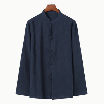 Chinese Style Stand Collar Loose Shirt