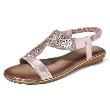 Sequined Hollow Beach Flat Sandals