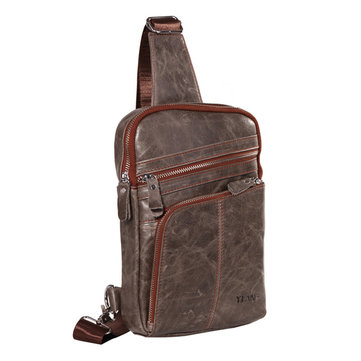 Genuine Leather Chest Bag First Layer Of Leather Vintage Single-shoulder Crossbody Bag For Men фото