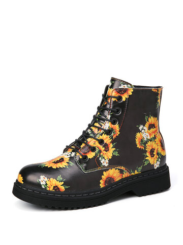 SOCOFY Sunflowers Printed Comfy Round Toe Wearable Casual Work Style Ankle Boots Martin Boots