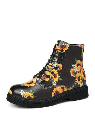 SOCOFY Sonnenblumen bedruckt Bequeme runde Zehen tragbar lässig Arbeitsstil Knöchel Stiefel Martin Stiefel
