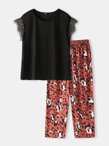 Plus Size Lace Short Sleeve Pajama