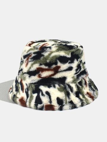 Women & Men Plush Camo Outdoor Bucket Hat
