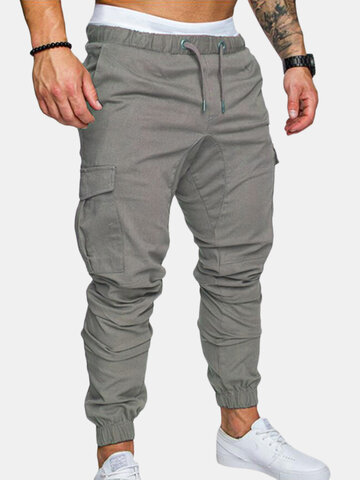 Solid Elastic Waist Multi-pocket Cargo Pants