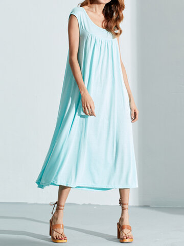 Solid Color Sleeveless Casual Dresses