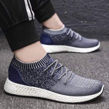 Men Breathable Knitted Fabric Sock Sneakers