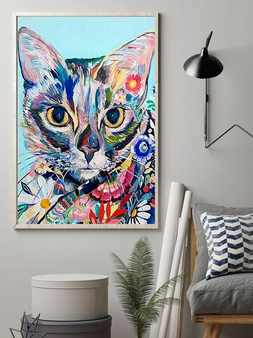 Colorful Cat And Floral Overlay Print Pattern Canvas Painting Unframed Wall Art Canvas Living Room Home Decor