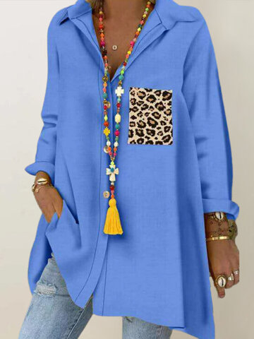 Casual Leopard Print Patchwork Shirt