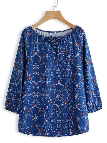 Floral Print 3/4 Sleeve Lace Up Shirt фото