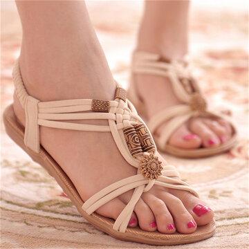 Sandales De Plage Plates Nu-pieds Entredoigts Avec Fleurs Et Perles À Enfiler Pour Extérieur