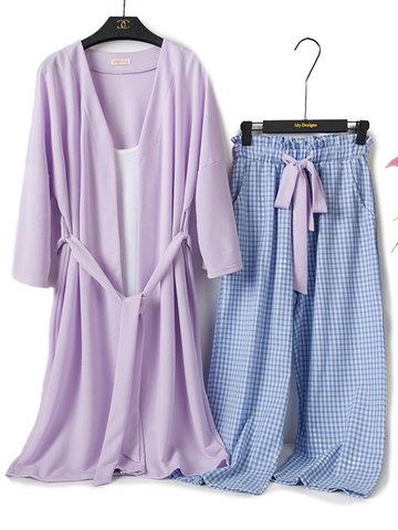 Cotton Plaid Three Pieces Home Pajamas