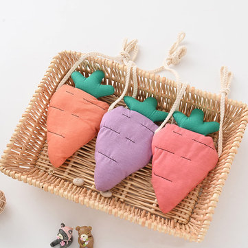 Kids Cottton Soft Material Carrot Pencil Cases Coin Pocket Cute Wallet