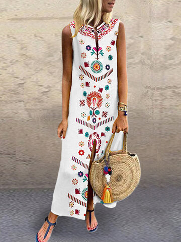 Floral Print V-neck Split Maxi Dress