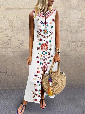 V-образный вырез с цветочным принтом Split Maxi Платье