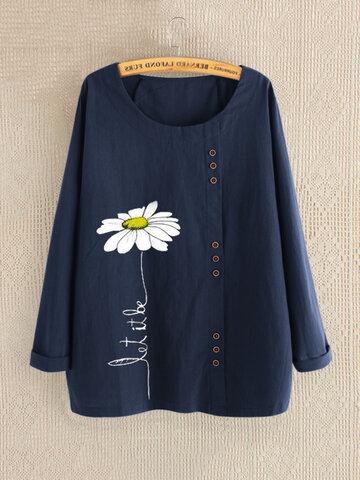 Casual Print Daisy Shirt