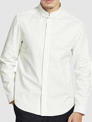 Camisas de lino de algodón sueltas de cuello nacional para caballero
