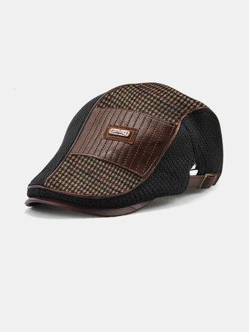 COLLROWN Men Knit Leather Patchwork Color Beret Hat